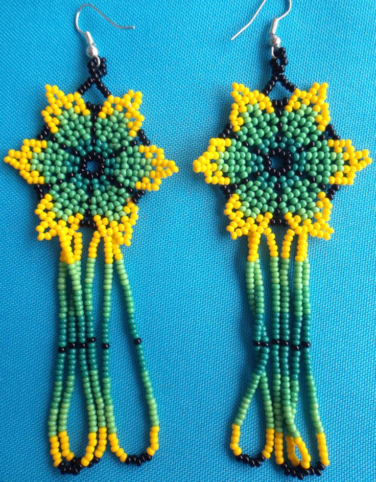 Mexican Huichol Beaded Flower Earrings by Aramara on Etsy