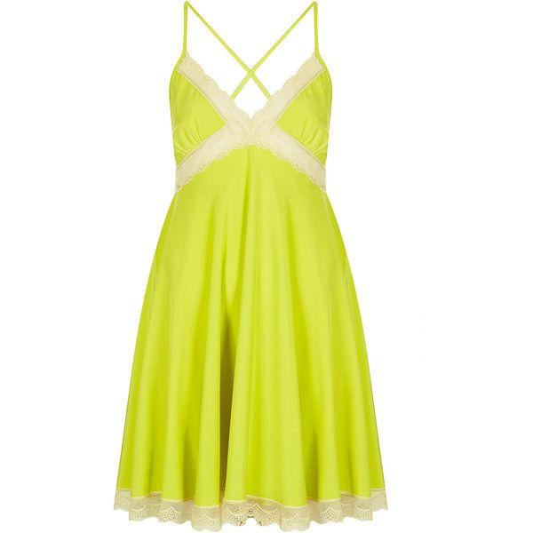 TOPSHOP Lace Insert Slip Dress (64 BRL) ❤ liked on Polyvore featuring dresses, topshop, chartreuse, strappy dress, strap dress, slip dress, chartreuse dress and topshop dresses