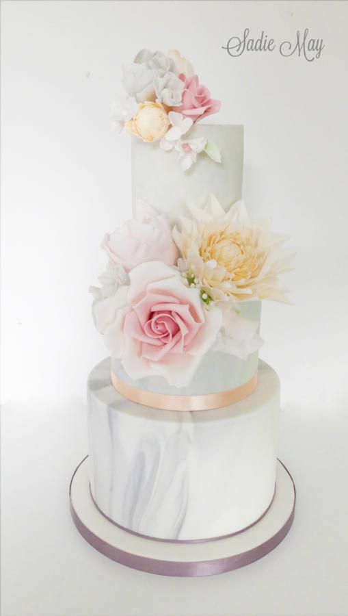 Grey Marble and Spring Colours Wedding cake by Sharon Sadie May Cakes - http://cakesdecor.com/cakes/273606-grey-marble-and-spring-colours-wedding-cake