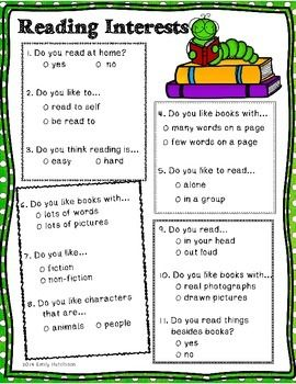 This is a quick reading survey to help you determine how your young students feel about reading.  The survey forces them to pick one of two choices so that you can really determine what they like best.   This short inventory was created with early first graders or even kindergarteners in mind.  I hope it helps you to find out more about your young readers!