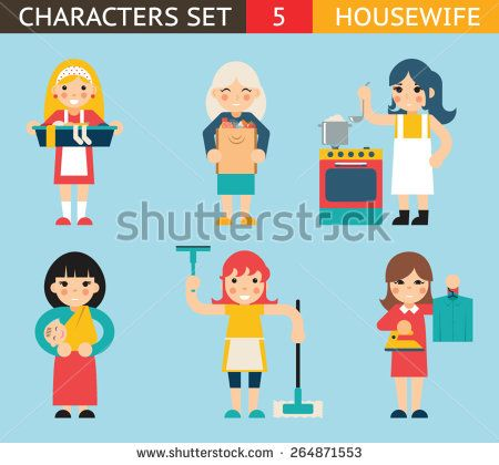 Housewife Characters Icon Set Symbol with Accessories on Stylish Background Flat Design Concept Template Vector Illustration