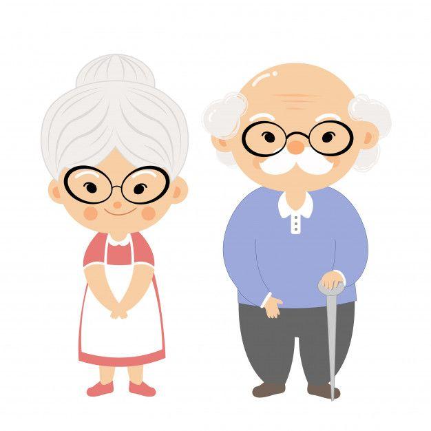 Couple Elderly With Smile Face Cartoon Grandma Family Cartoon Cute Couple Cartoon