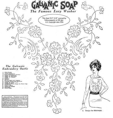 Embroidery transfer pattern given away with soap by B.J. Johnson Soap Co., copyright 1914.