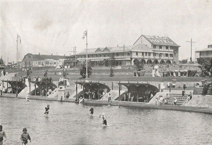 Ocean Beach, showing Beach Hotel, Durban. ca. 1920