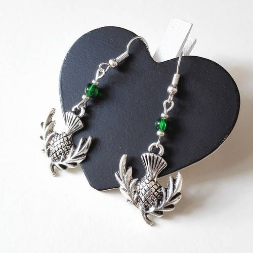 Boucles d'oreilles outlander chardon ecosse irlande claire jamie fraser highlanders celtique