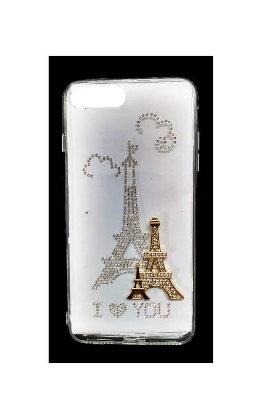 """Fancy Stone Studded Transparent Back Cover For Apple iPhone 7 (4.7"""") Design 4"""