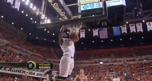 Oklahoma State's Markel Brown threw down this massive, two-handed windmill dunk against the Texas Longhorns on Saturday.