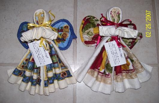 "Create: <3 Kitchen Angels <3 - Dish towel, wash cloth, hot pad (wings), Great ""usable"" gift/ decoration. KarensCreationsOnline <3 (other versions exist online too) <3"