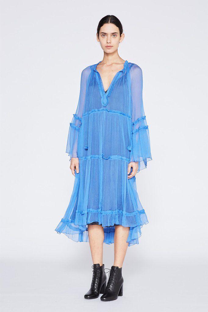 Louisa Tiered Dress with Slip - Cornflower