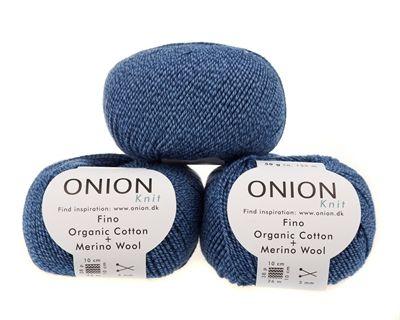 Blå Jeans v502 - Fino organic cotton + merino wool - Onion - Strikkepinden