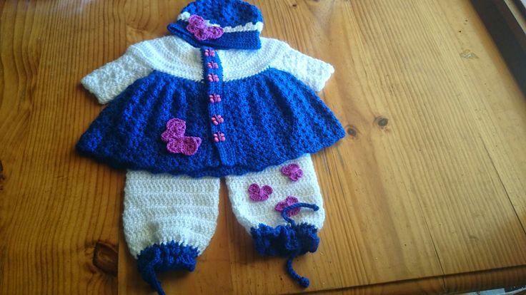 Crochet coat and pants, butterflies trimmed