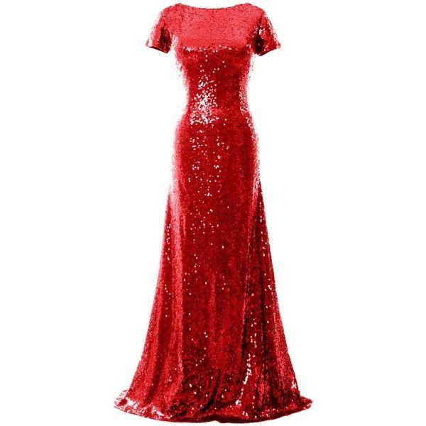 MACloth Mermaid Cap Sleeve Sequin Long Bridesmaid Dress Formal Evening... (470 BRL) ❤ liked on Polyvore featuring dresses, gowns, long red dress, long gowns, formal evening gowns, red formal gown and red formal dresses