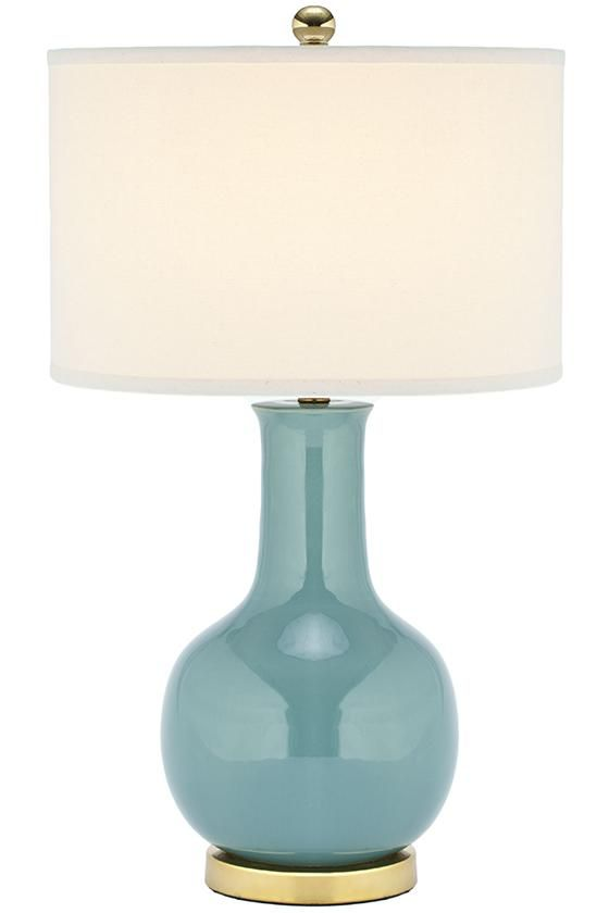 Glazed Ceramic Table Lamp With A White Drum Shade. Product: Table  LampConstruction Material: Ceramic, Linen And MetalColor: Light Blue, ...
