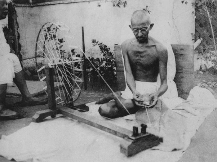 Mahatma Gandhi Spinning yarn in the late 1920s.
