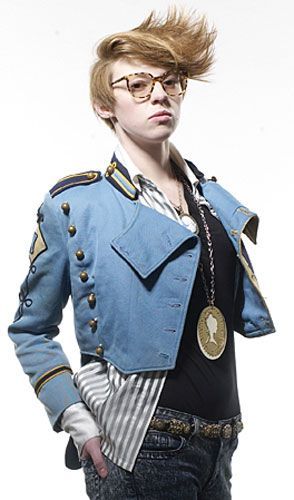 La Roux.  I really like this look, too.  I'm obsessed with her oversized neo cameo necklace.