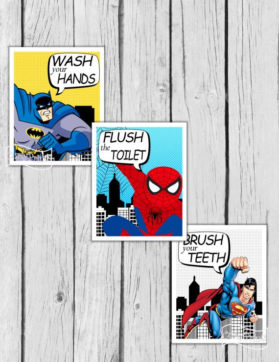 ***You will not receive a physical product or printed sheets by mail--YOU PRINT YOUR DESIGN***  These superheroes are a DIY printable image. Great for decorating your bathroom.  You will receive:  * Three 8 x 10 JPEG printable files  * This is an instant download design- once your payment has cleared you will receive an email that your designs are ready to be downloaded.  * Download images, Save and Print  * No watermark will appear on your purchased files  * Colors may vary slightly…