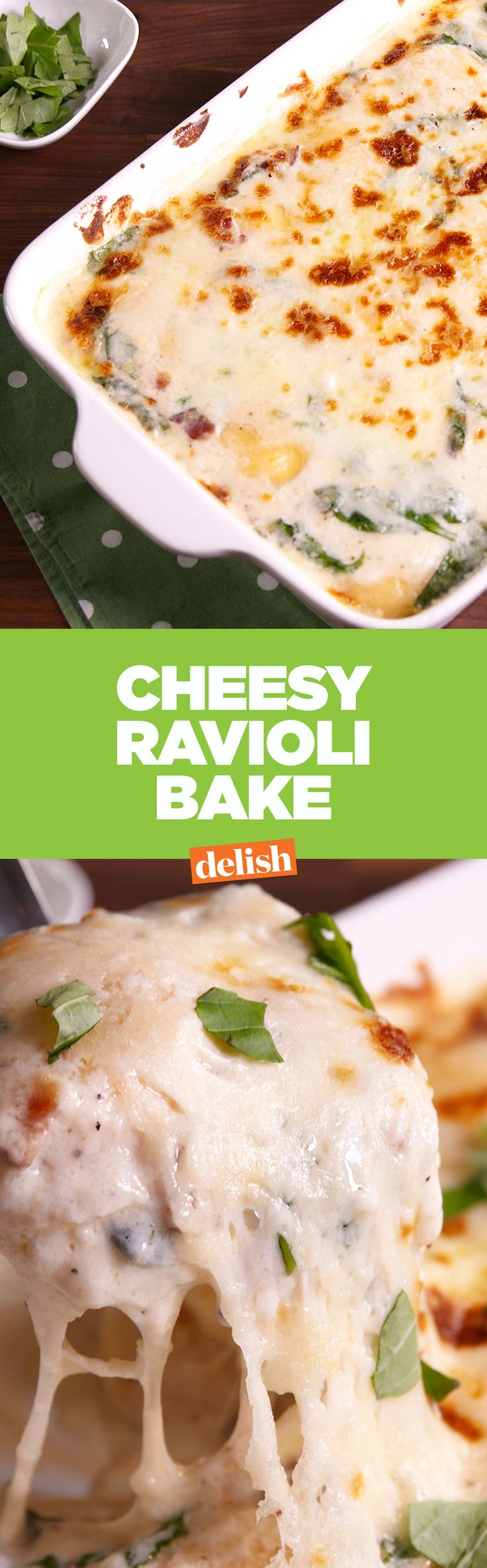 This Cheesy Ravioli Bake is like a casserole for pasta lovers. Get the recipe on Delish.com.