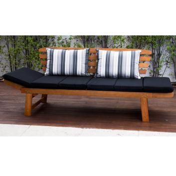 LUXO CHATSWORTH 2-IN-1 EUCALYPTUS HARDWOOD DAY BED WITH BLACK CUSHIONS DLXPDDB187