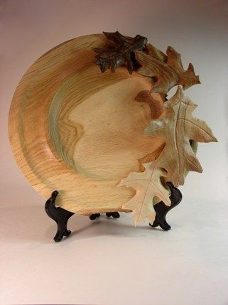 carved leaves mounted on hickory platter | WOOD TURNINGS ...