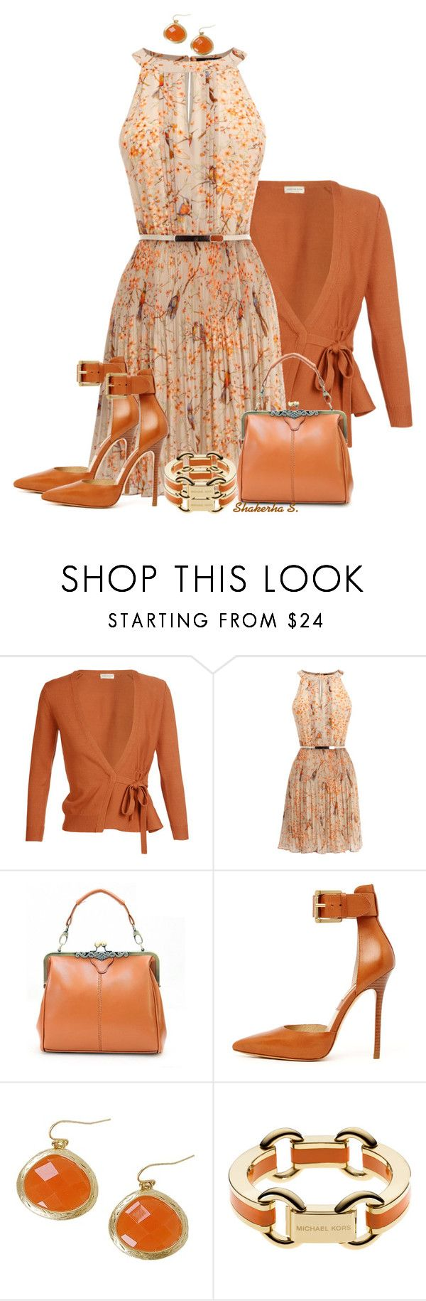 """Pleated Dress"" by shakerhaallen ❤ liked on Polyvore featuring Dries Van Noten, Oasis, Retrò, Michael Kors and Humble Chic"