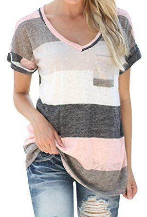 Pink and Grey is one of my favorite color combos. Women's V-neck Casual Short Sleeve T-shirt Blouse Tee only $9.00 Fashion deals for less!