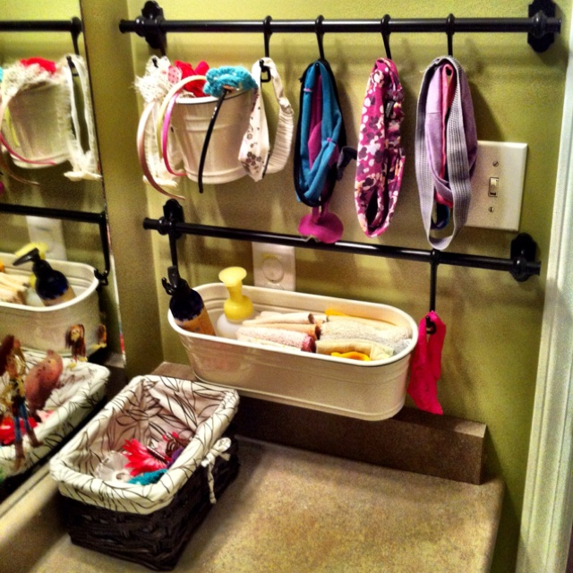 The kids newly organized bathroom.