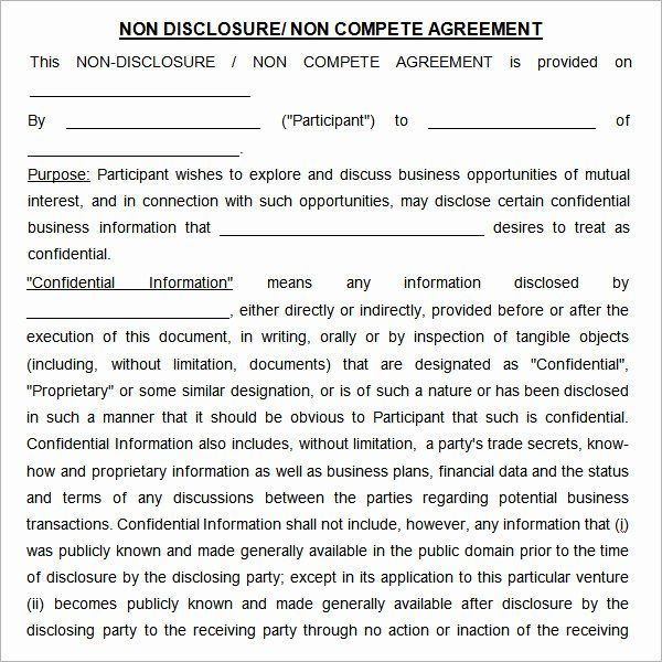 Non Compete Contract Template Inspirational Non Pete Agreement 7 Free Pdf Doc Download Contract Template Process Flow Chart Template Competing