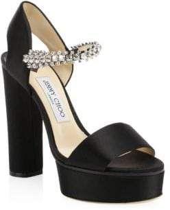 beeb8ace06c Jimmy Choo Santina Glitter Strap Satin Platform Heels