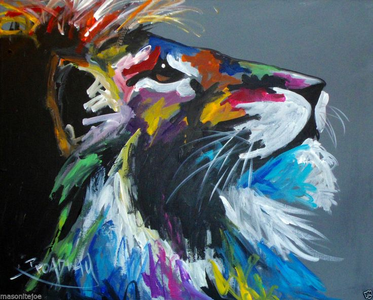 ABSTRACT ORIGINAL COLORFUL PAINTING 16X20 CANVAS LION FACE MaRC BROADWAY