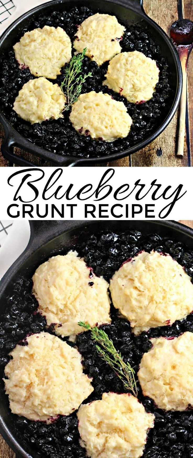 A Blueberry Grunt is a cobbler that is cooked on the stove top or over a campfire instead of in the oven. The drop biscuits steam to perfection in a bed of blueberries. This is a camping recipe that will really have you looking forward to dessert!