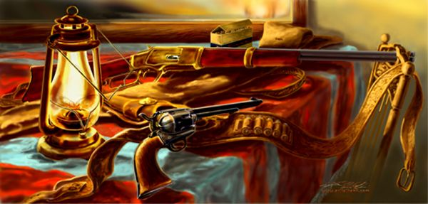 Log Cabin Interior Painting  Hunting  Art, Colt 45 Revolver & Winchester 1873 Carbine, is available for sale as a printable download file.