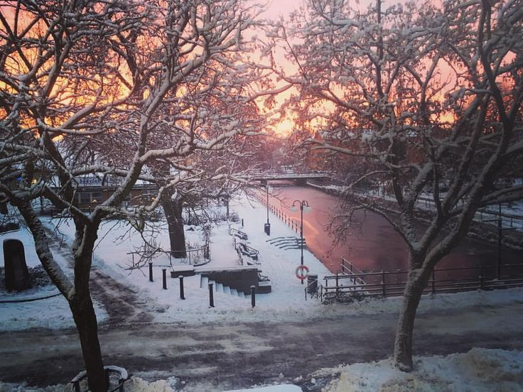 Sunrise today 😀 Have a blessed day my dears 😍😘❤️ #Köping #sunrise #streamzoofamily #snow #creek #ice #sweden #winterwonderland