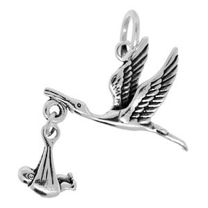 25x21mm Sterling Silver Stork and Baby Charm                    Sold By: 1 piece                                                                                                     var QueryString = function () {                 // This function is anonymous, is executed immediately and                  // the return value is assigned to QueryString!                 var query_string = {};                 var query = window.location.search.substring(1);                 var vars…