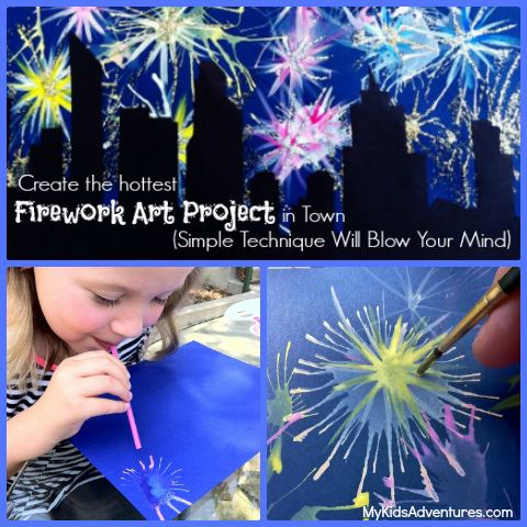 Want to create the explosive effects of fireworks in paint? This unique kids' art project will blow you away. It's easy to paint fireworks in an illuminated sky.
