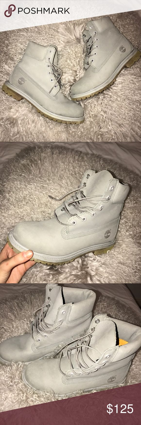 grey timberland boots 8 grey timberland boots, wore out only once! perfect condition size 8 Timberland Shoes Winter & Rain Boots