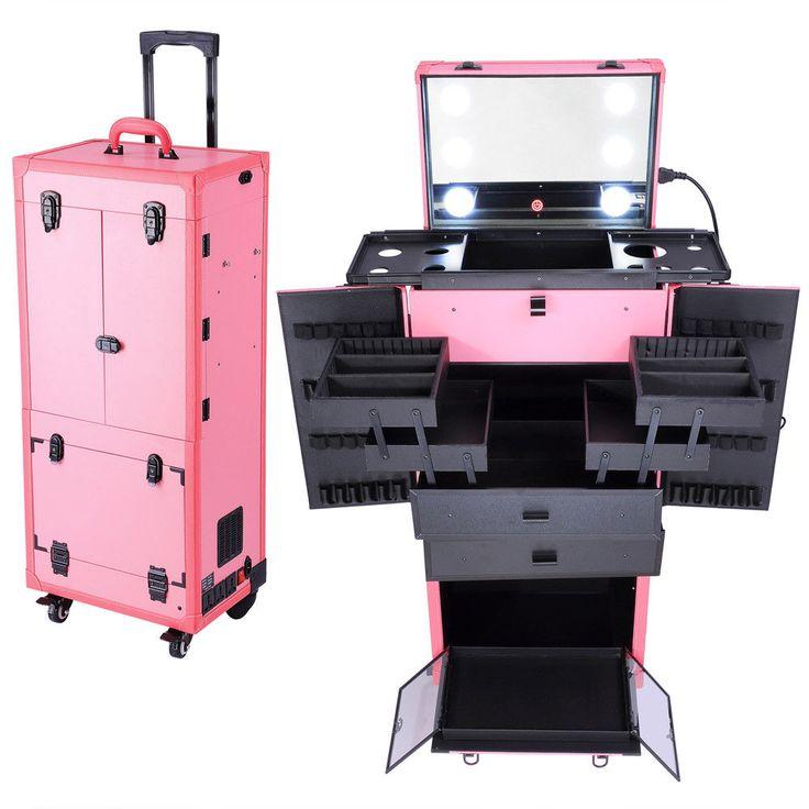 Rolling Makeup Case w/ Lights Mirror Cosmetic Aritist Studio Multi-function Pink  | eBay