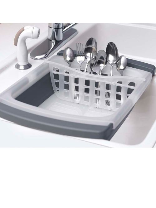 Unlike traditional dish racks, the Collapsible Dish Drainer opens when you need it and collapses to 1/3 its original size for storage.