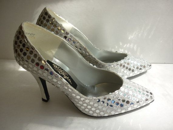 1980s heels with silver lame fabric and metallic silver sequin mylar spangles