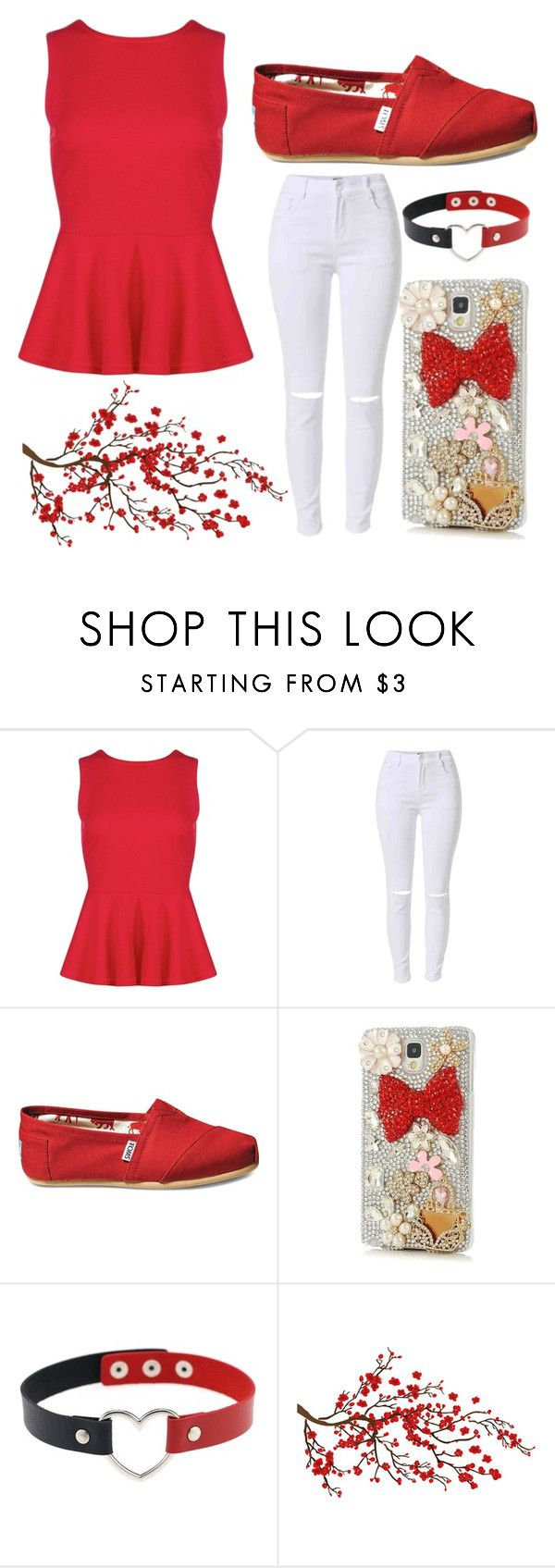 """red peplum top"" by lakebaleonard ❤ liked on Polyvore featuring TOMS and Samsung"