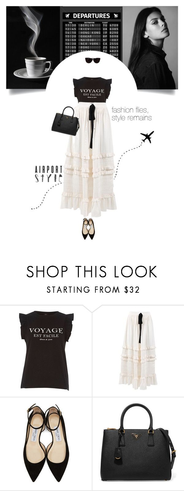 """""""Untitled #297"""" by soledestate ❤ liked on Polyvore featuring River Island, Ulla Johnson, Jimmy Choo, Prada, Tiffany & Co. and airportstyle"""