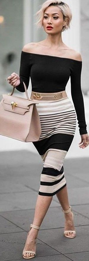 #summer #sensual #chic #outfits |  Black Top + Stripe Pencil Skirt