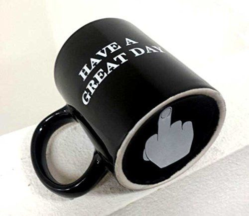 Coffee mug Have a Great Day Mugs Middle Finger Cute Mug - Funny Flip Off Ceramic Coffee Cup Black by Busen