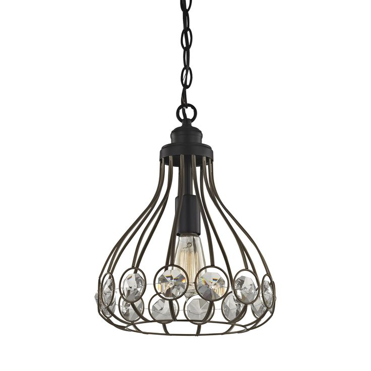 Elk Crystal Web 1 Light Penant In Bronze Gold And Matte Black With Clear Crystal Pendant item number 81105/1