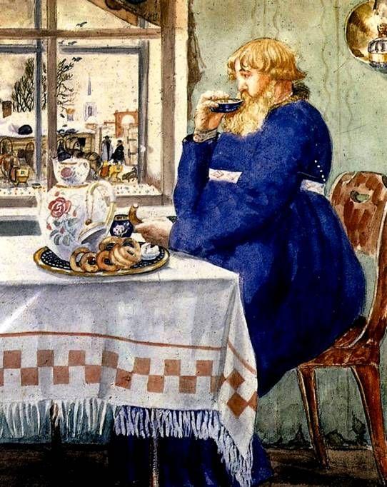 Кустодиев Б.М. Извозчик за чаем. 1920 г.