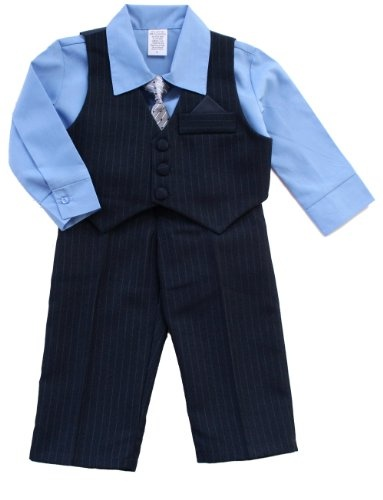 Fouger, Navy Pinstripe Vest Suit and Pants with Shirt and Tie (c) ~