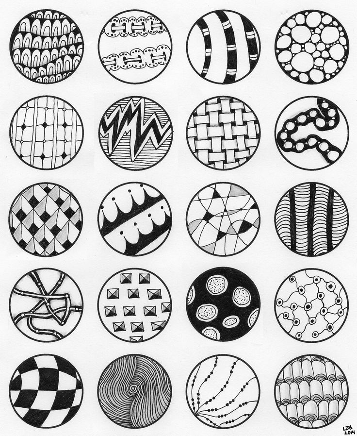 Zentangle Fill Patterns   20 circles filled with Zentangle patterns. Inspired by Yael360 on ...