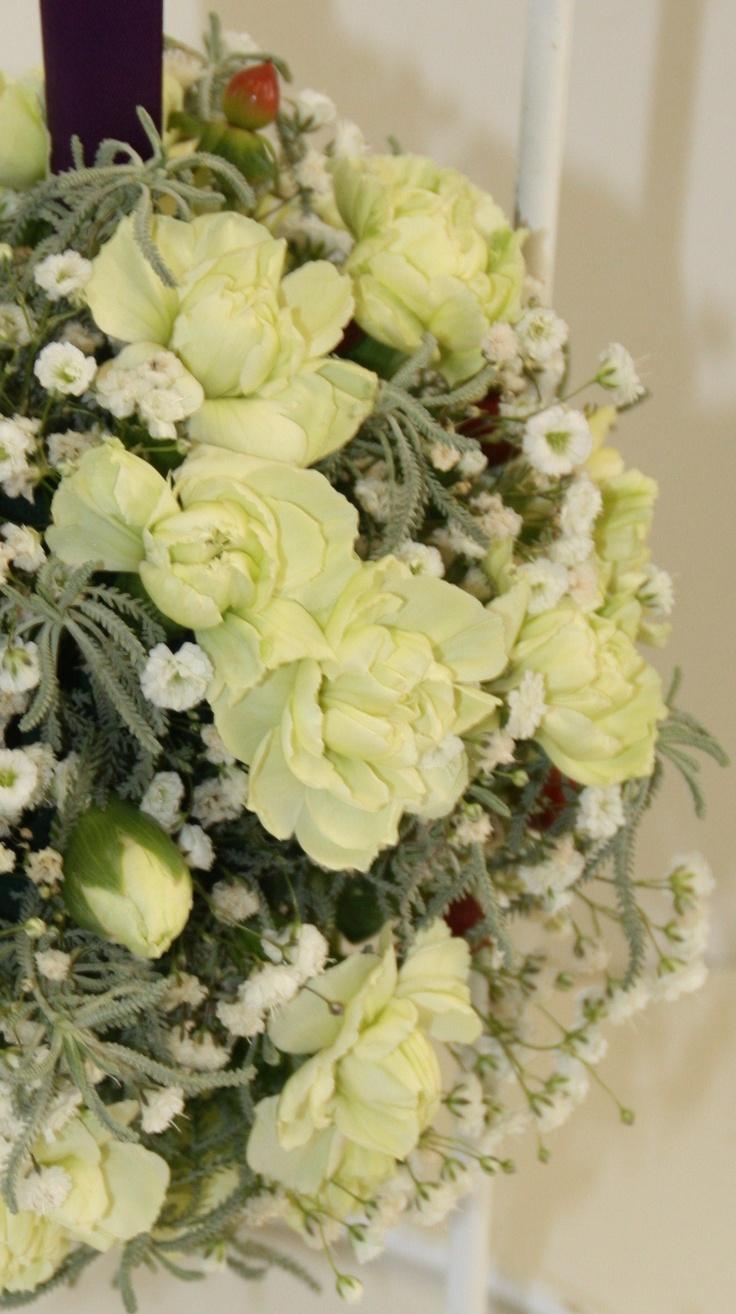Oasis pomander - hypericum, carnations, gyp + foliage