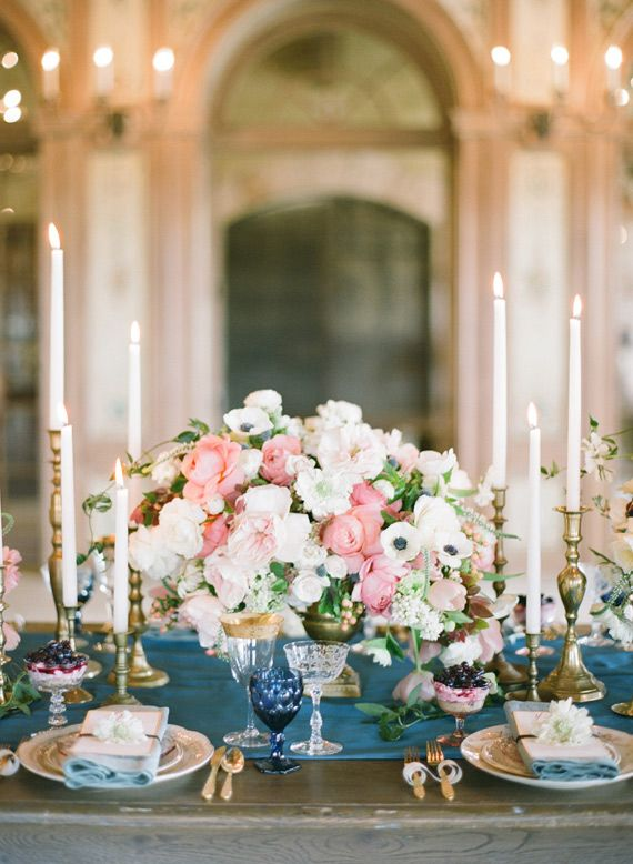 pink, cream, blue and gold tabletop | Photo by Bryan Miller