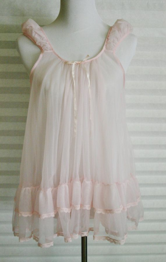 Vintage 60s Sheer Pink Babydoll Nightie Negligee 1960s