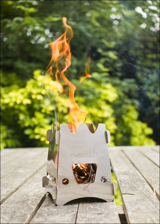 Emberlit Camp Stove. In my opinion, this is the most efficient and effective small wood burning camp stove, on the market.